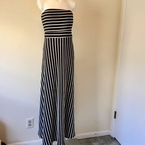 WEST KEI Black & White Stripe Strapless Maxi Dress